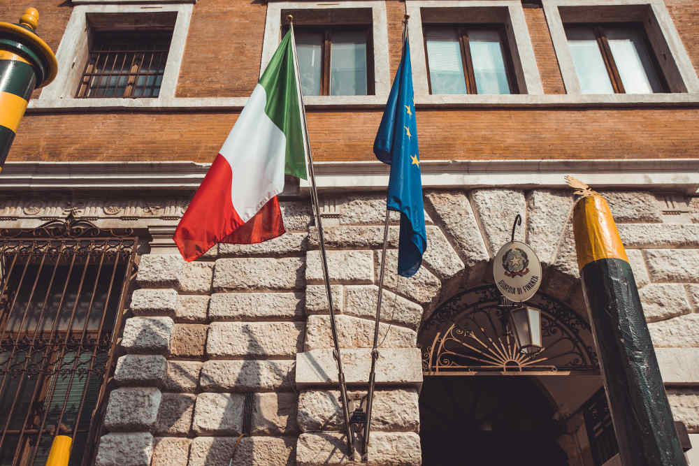 italien and europeen flag at administration office