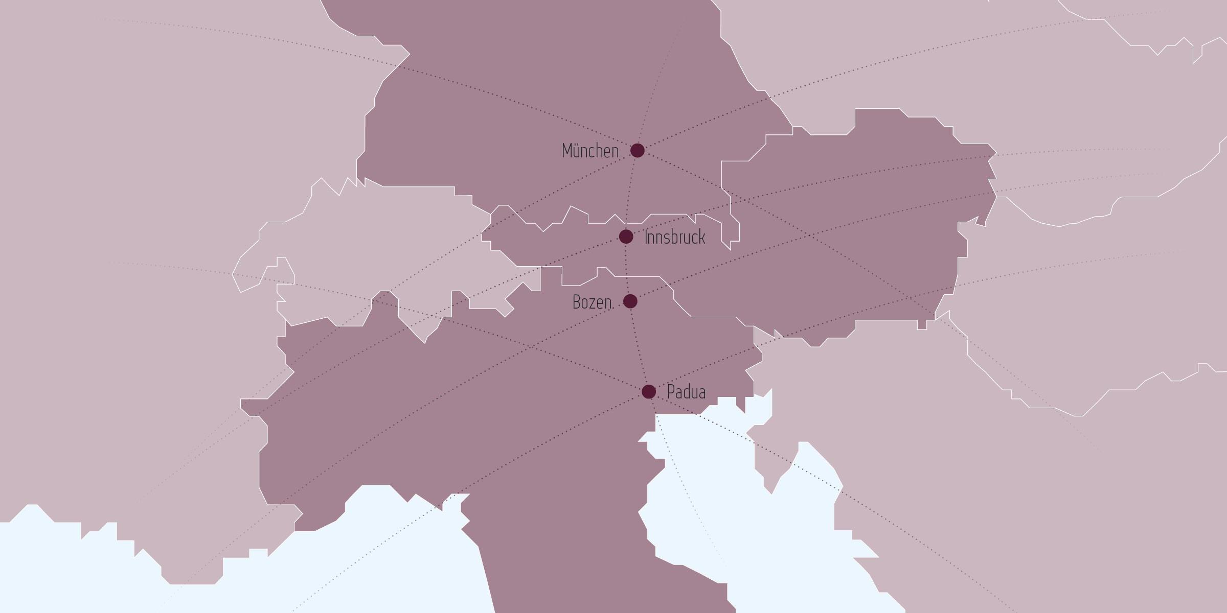 Grafik mit den Standorten der Kanzlei Perathoner & Partner - Wirtschaftsrecht in Italien