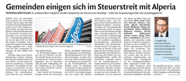 Vorschaubild Presseartikel Steuerstreit Immobiliensteuer Südtiroler Gemeinden Alperia